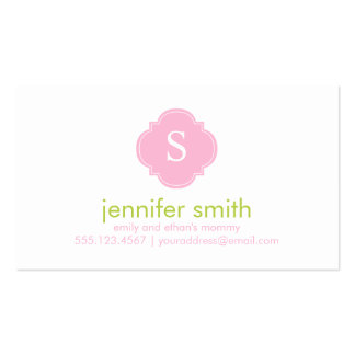 Pink Green Quatrefoil Monogram Stripes Pattern Double-Sided Standard Business Cards (Pack Of 100)