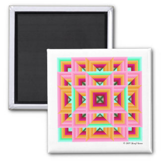 Pink Green Quilt Pattern 3 2 Inch Square Magnet
