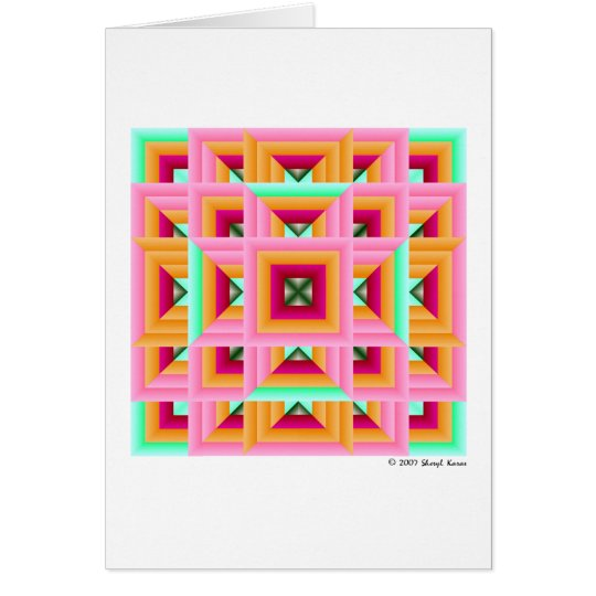 Pink Green Quilt Pattern 3 Card