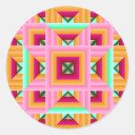 Pink Green Quilt Pattern 3 Classic Round Sticker