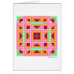 Pink Green Quilt Pattern 3 Greeting Card