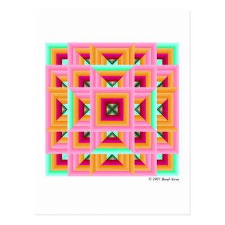 Pink Green Quilt Pattern 3 Postcard