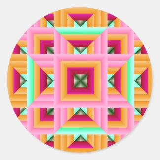 Pink Green Quilt Pattern 3 Sticker