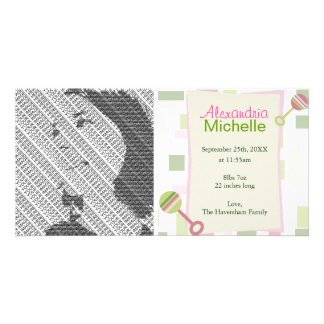 Pink Green Rattles Birth Announcement Photo Cards