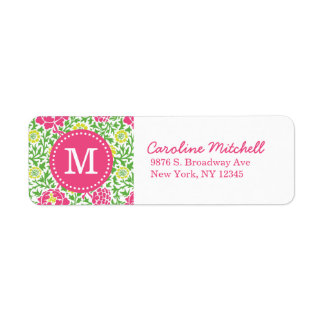 Pink & Green Retro Floral Damask Custom Monogram Label