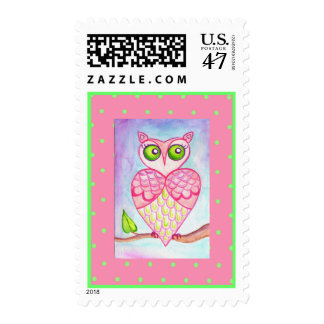 Pink Green Retro Heart Hoot Owl Postage Stamp