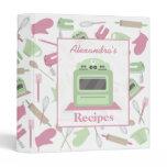 Pink & Green Retro Kitchen Recipe Binder