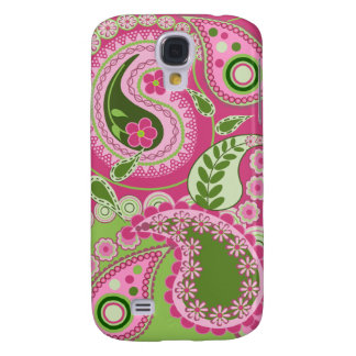 Pink / green retro Paisley Patterns Galaxy S4 Covers