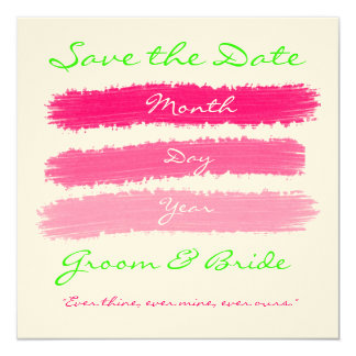 "Pink & Green Save the Dates 5.25"" Square Invitation Card"