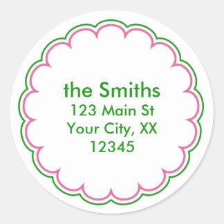 Pink Green Scallop Address Stickers