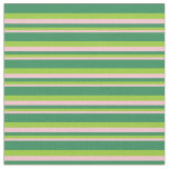 [ Thumbnail: Pink, Green & Sea Green Lines Pattern Fabric ]