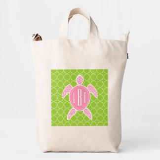 Pink + Green Sea Turtle Monogrammed Duck Bag