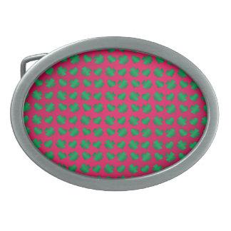 Pink green shamrocks and hearts belt buckle