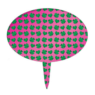 Pink green shamrocks and hearts cake pick