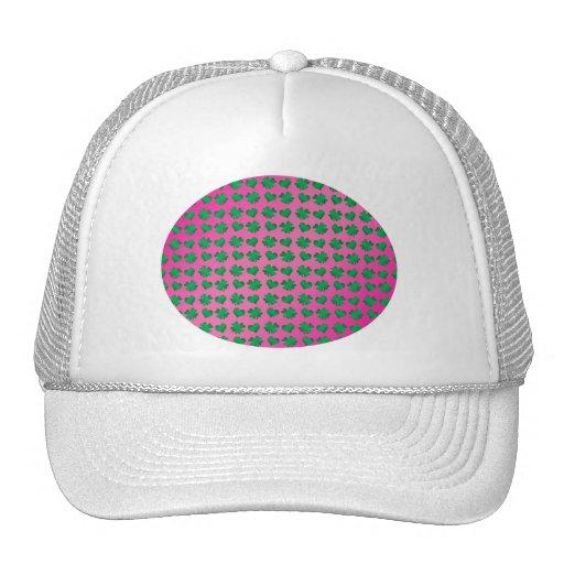 Pink green shamrocks and hearts hats
