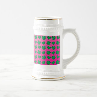 Pink green shamrocks and hearts 18 oz beer stein