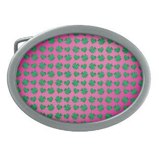Pink green shamrocks and hearts oval belt buckle