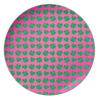 Pink green shamrocks and hearts dinner plate
