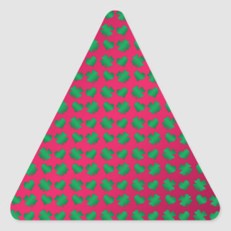 Pink green shamrocks and hearts triangle sticker