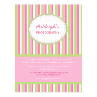 Pink Green Striped Photographer Business Card Postcard