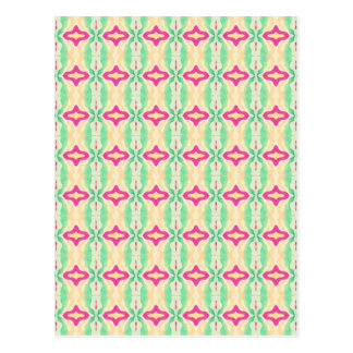 Pink Green Stripes Chains Pattern Postcard