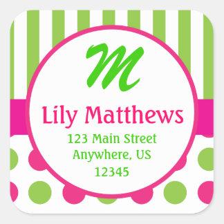 Pink & Green Stripes Dots Monogram Address Sticker