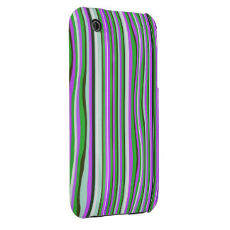 Pink & Green Stripes iPhone3 Case Mate iPhone 3 Case