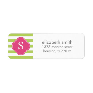 Pink Green Stripes Monogram Return Address Label