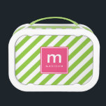 """Pink Green Stripes Monogrammed Lunch Box<br><div class=""""desc"""">Fun and colorful design features angled stripes and can be personalized with your name and monogram.</div>"""
