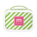 Pink Green Stripes Monogrammed Lunch Box<br><div class='desc'>Fun and colorful design features angled stripes and can be personalized with your name and monogram.</div>