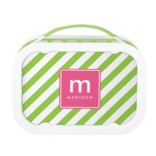 Pink Green Stripes Monogrammed Lunch Box at Zazzle