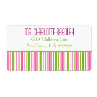 Pink & Green Stripped Bridal Shower Address Label