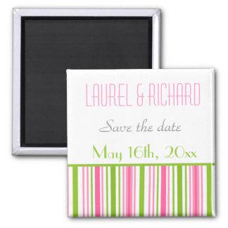 Pink & Green Stripped Wedding Magnets Fridge Magnets