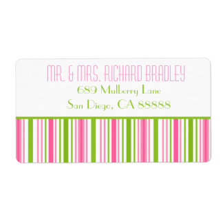 Pink & Green Stripped Wedding Return Address Label
