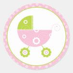 Pink & Green Stroller Classic Round Sticker