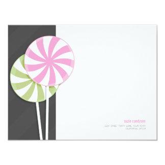 Pink & Green Swirl Lollipops Personalizable 4.25x5.5 Paper Invitation Card