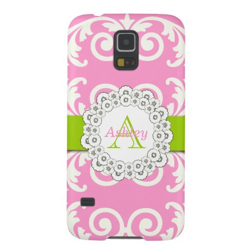 Pink Green Swirls Damask Pattern, Your Name Case For Galaxy S5