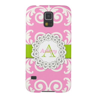 Pink Green Swirls Damask Pattern, Your Name Galaxy S5 Case