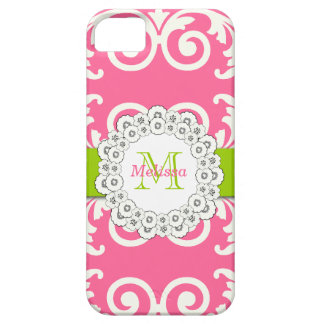 Pink Green Swirls Floral iPhone 5 Case-Mate