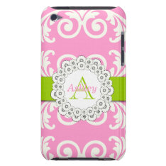 Pink Green Swirls Floral Ipod Case at Zazzle