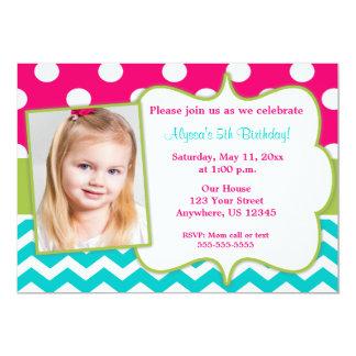 Pink Green Teal Chevron Photo Invite