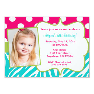 Pink Green Teal Zebra Print Photo Invite
