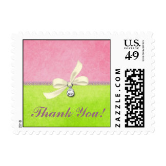Pink & Green Thank You Stamp