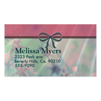 Pink & Green Tinsel With Green Bow Business Card Template