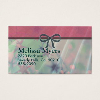 Pink & Green Tinsel With Green Bow Business Card