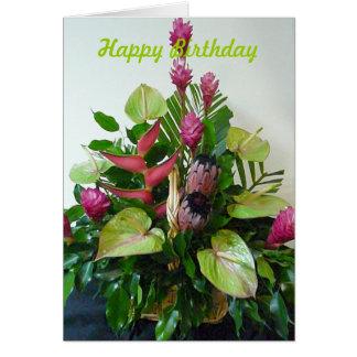 Pink & Green Tropical Flower Arrangement Birthday Greeting Card