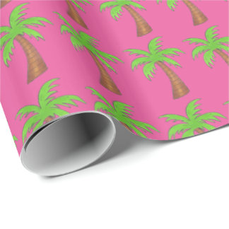 Pink/Green Tropical Palm Tree Trees Wrapping Paper