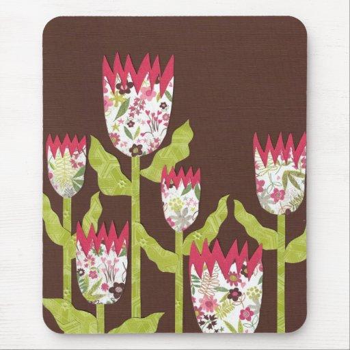 pink green tulips mousepad