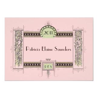 Pink & Green Vintage Art Deco Graduation or Other Card
