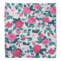 Pink Green Vintage Chic Roses Floral Pattern Bandana